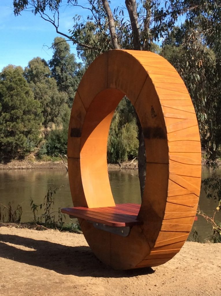 Public art, sculptural seating, cor ten steel red gum timber seating